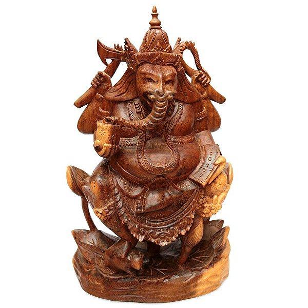 Escultura Ganesh Entalhado Madeira Sono
