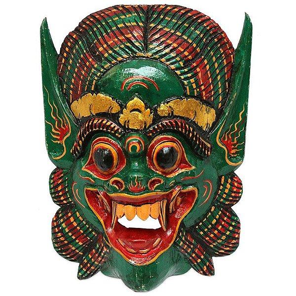 Máscara Barong 50cm em Madeira - Verde