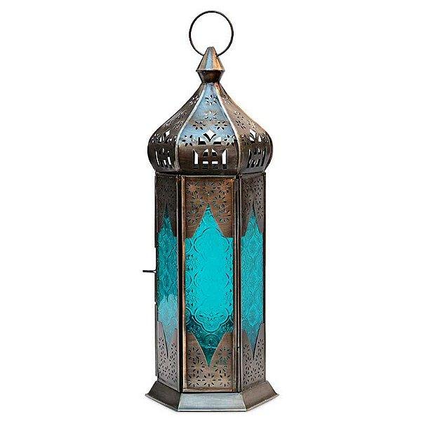 Lanterna Indiana Rústica - Azul 40cm
