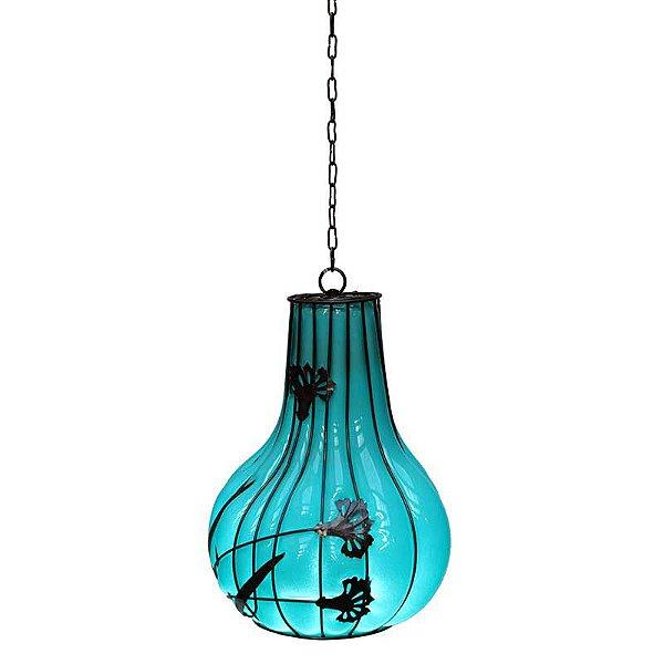 Luminária de Vidro Soprado Azul