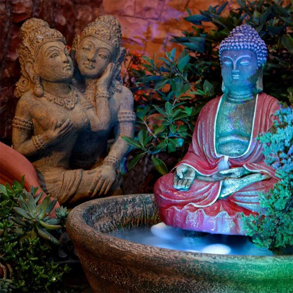 Fonte de Buda em Pedra e Cristais 55cm