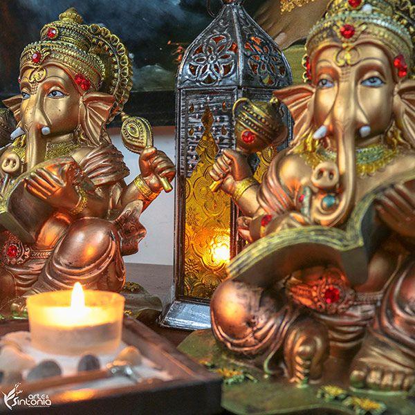 Ganesh Dourado em Resina - Hindu