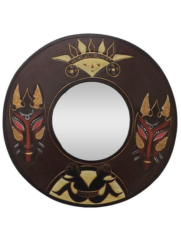 Espelho Decorativo Redondo com Moldura Máscaras Tribais 40cm