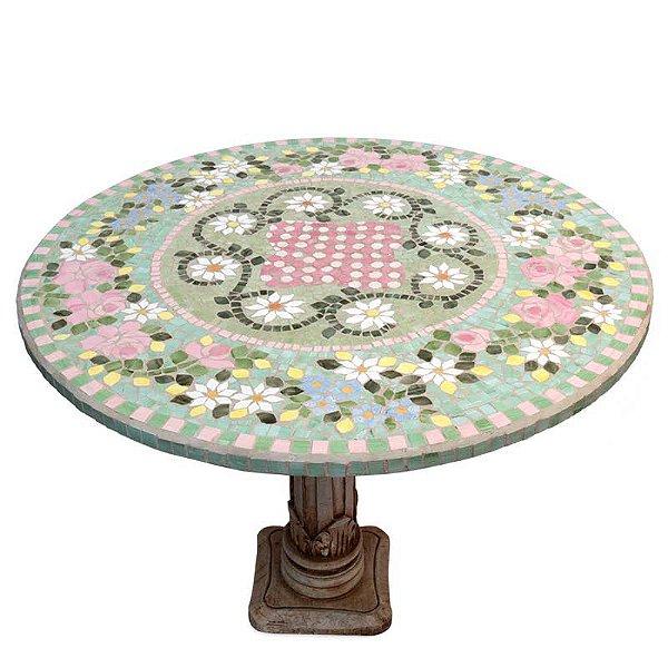 Tampo de Mesa Mosaico Floral 80cm