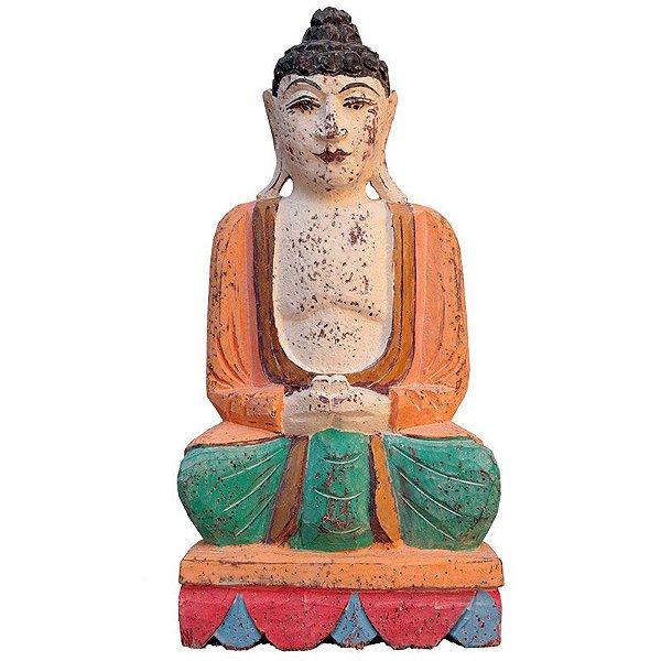 Buda em Madeira Bali Color 50cm