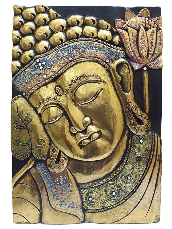 Placa Face de Buda em Madeira