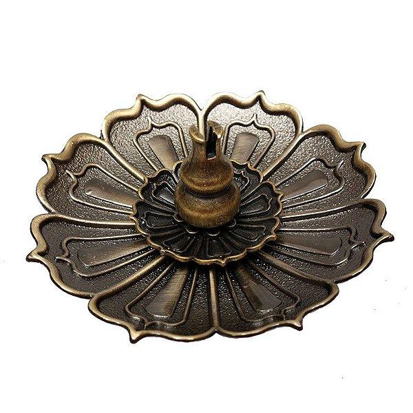Incensário Redondo Lótus Bronze