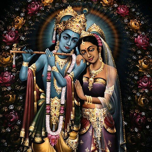 Pintura Casal Hindu - Krishna e Radha