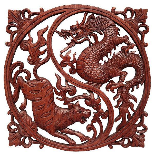 Mandala Yin Yang Dragão e Tigre 40cm