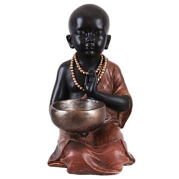 Escultura Monge Budista Orando 35cm
