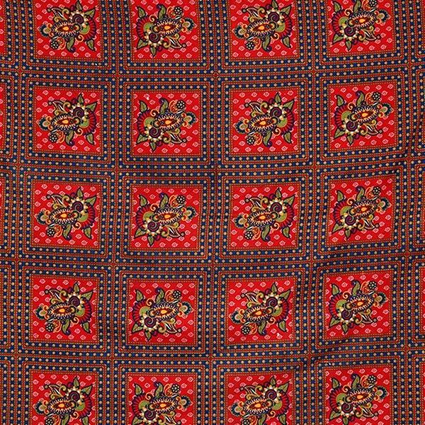 Colcha Indiana 100% Algodão Floral Vermelha