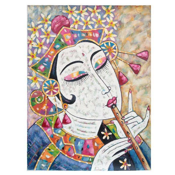 Tela Mulher Indonesiana Tocando Flauta 80x60cm