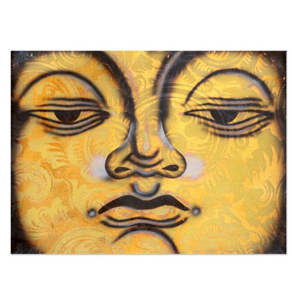 Tela Decorativa Buda Amarelo 40x30cm