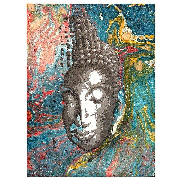 Pintura em Tela Face de Buda Colorida 40x30cm