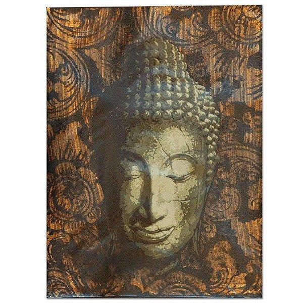 Pintura em Tela Buda Textural Floral 40x30cm