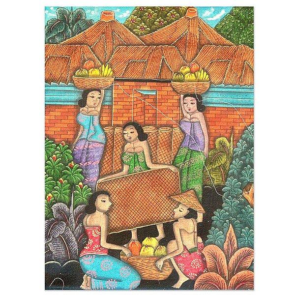 Tela Trabalhadores de Bali 40x30cm