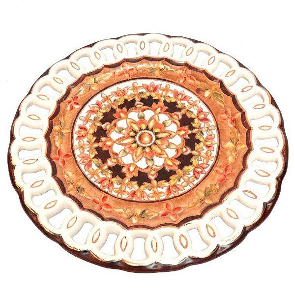 Prato Laranja Floral em Porcelana