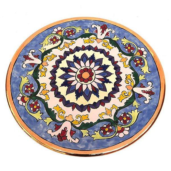 Prato Azul Floral em Porcelana