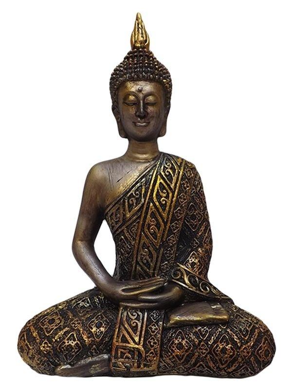 Escultura de Buda Tailandês Meditando em Resina Gold 21cm
