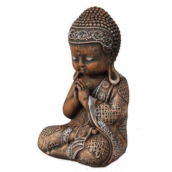 Monge Budista em Pedra - Orando