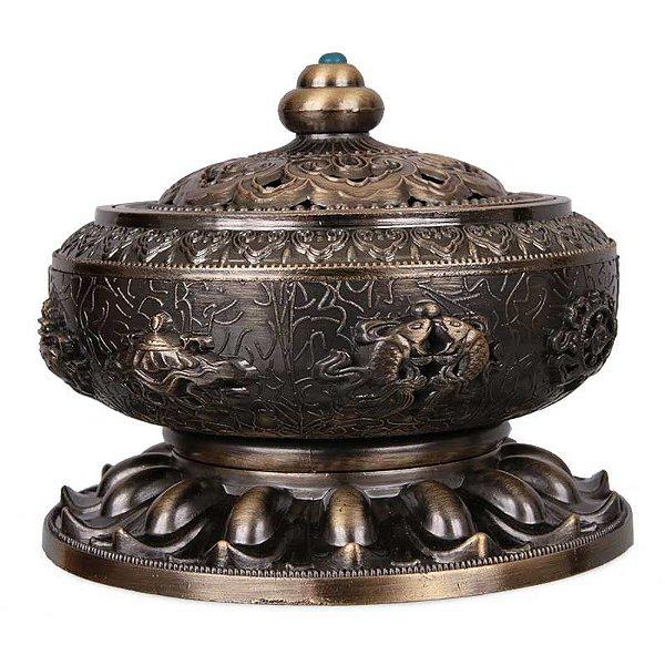 Incensário Oriental em Metal Bronze 09cm