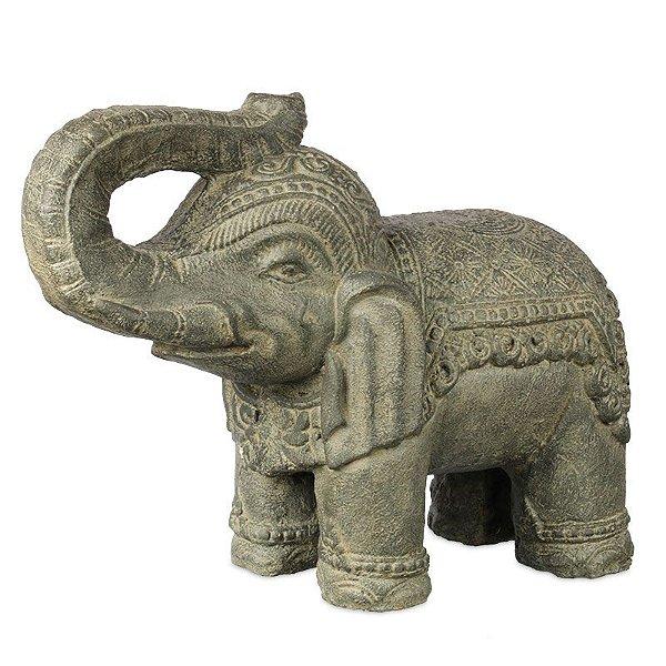 Escultura Elefante Escuro em Cimento 34cm | Bali
