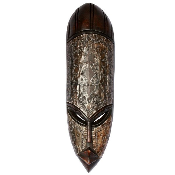 Máscara Africana Artesanal em Madeira 43cm