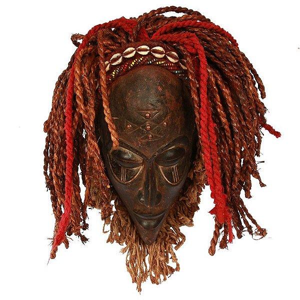 Máscara Africana em Madeira e Sisal 40cm
