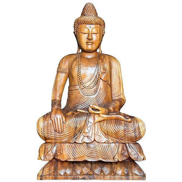 Escultura Buda em Madeira 102cm | Bali