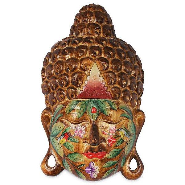 Cabeça de Buda Tattoo em Madeira 40cm