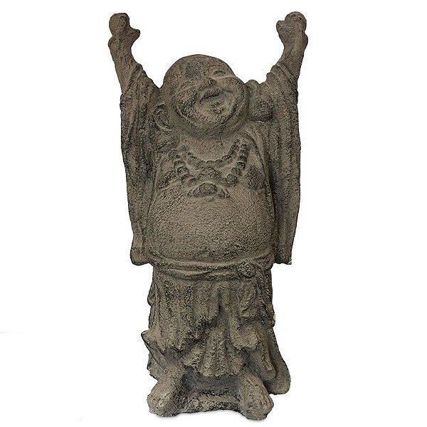 Escultura Happy Buda em Cimento   30cm