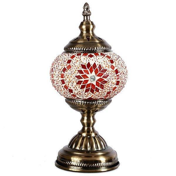 Abajur Turco em Mosaico Vermelho | 30x13cm
