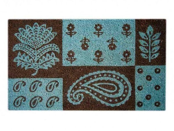 Capacho Indiano Floral 45x75cm - Fibra Natural