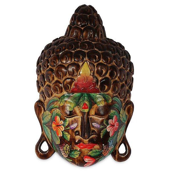 Cabeça de Buda Tattoo em Madeira Escura