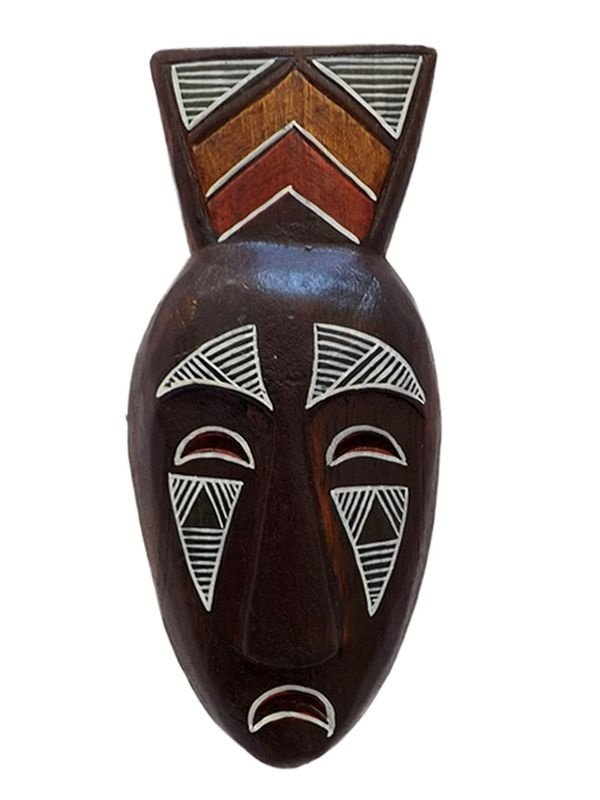Máscara em Madeira p/ Decoração 20cm
