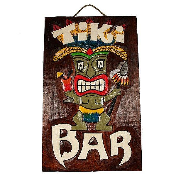 Placa de madeira tiki bar hawaii 40cm arte sintonia artes e placa decorativa tiki bar 40cm bali stopboris Images