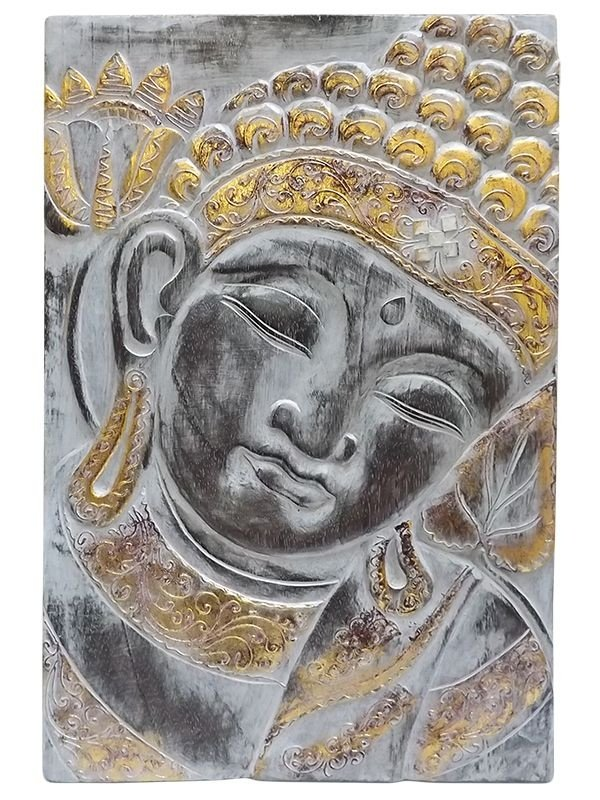 Placa Decorativa Buda em Madeira 60x40cm - Arte Pátina Bali