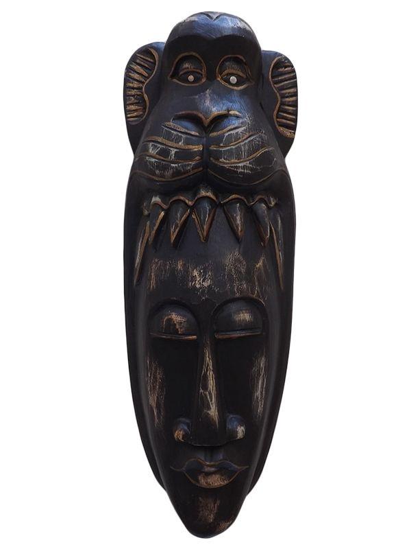 Máscara Artesanal em Madeira p/ Decoração de Paredes 50x18cm