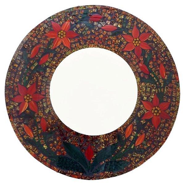 Espelho Redondo c/ Moldura Mosaico Flores 60cm - Arte Bali