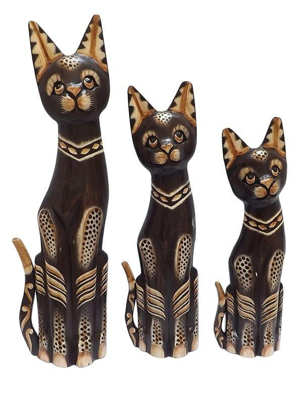 Trio de Gatos Bali em Madeira 50/40/35cm
