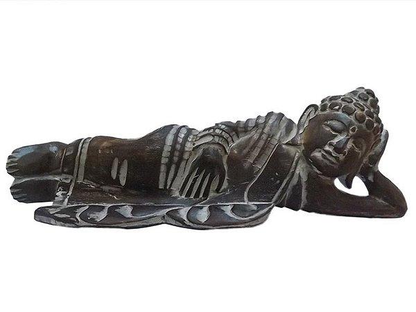Buda Deitado em Madeira Pátina 50cm - Bali