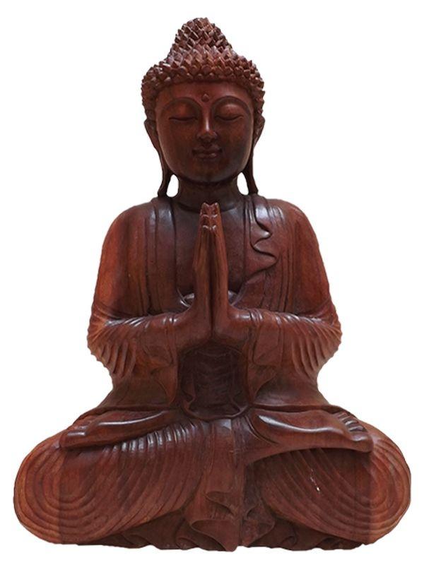 Buda Orando em Madeira 30cm - Bali