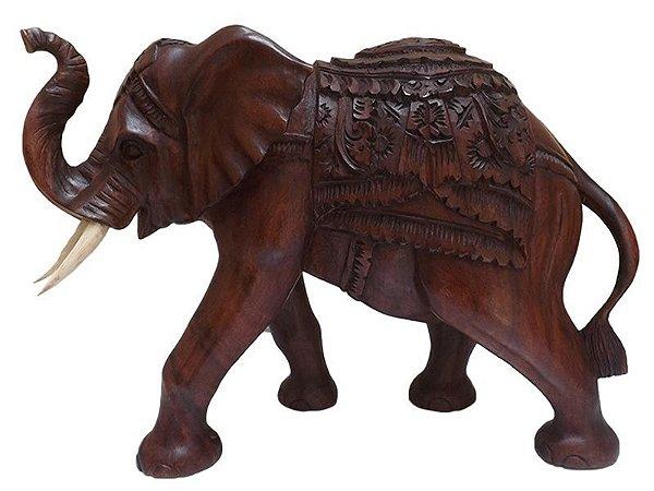 Escultura Elefante em Madeira Suar 30x40cm