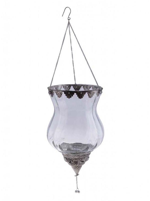 Lanterna Indiana de Vidro para Decoração com Velas 27x17cm