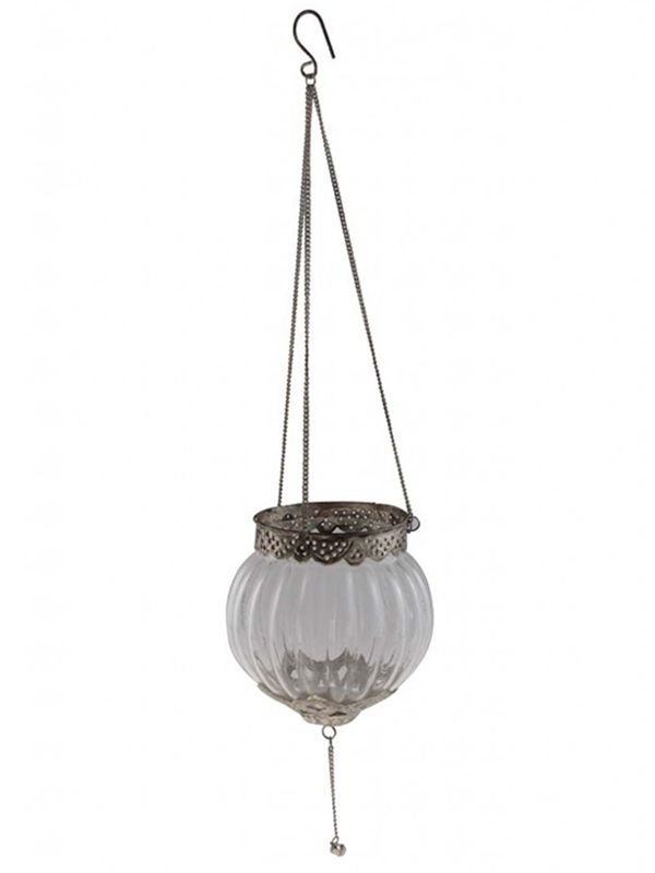 Lanterna Indiana p/ Velas em Vidro e Metal - Pêndulo 13x12cm
