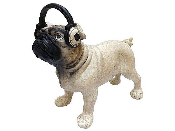 """Escultura """"Pug com Fone"""" em Resina 21cm"""
