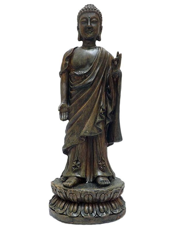 Escultura de Buda em Resina p/ Decoração 20cm - Arte Budista