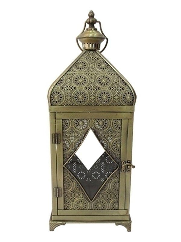 Lanterna Decorativa para Velas em Metal 55cm - Arte Marrocos