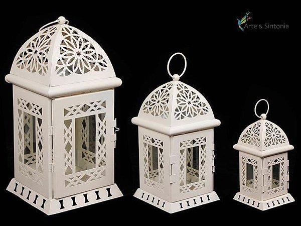 Trio de Lanternas Marroquinas p/ Velas - Branco ou Acobreada