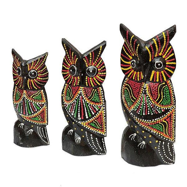 Trio de Corujas Bali - 21/18/15cm